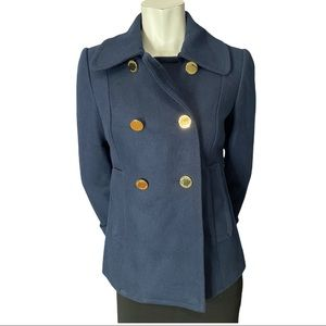 Tory Burch Navy Wool Blend Double Breasted Pea Coat Gold Tone Buttons Size2